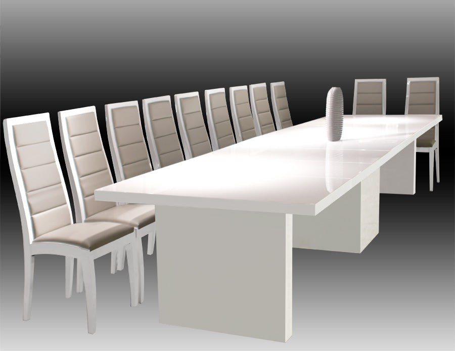 Brilliant Modern White Lacquer Conference Table Expands From 53 W To 167 W Download Free Architecture Designs Ferenbritishbridgeorg