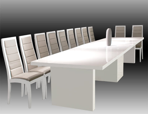 "Modern White Lacquer Conference Table (Expands from 53"" W to 167"" W)"