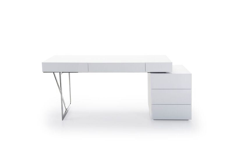 "62"" Modern Office Desk in High Gloss White & Chrome"