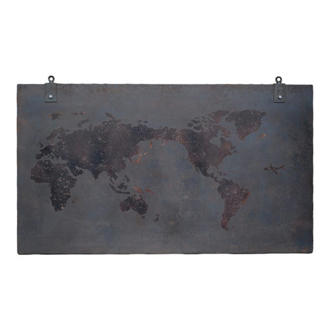 "55"" x 31"" Iron Wall Art w/ World Map Design"