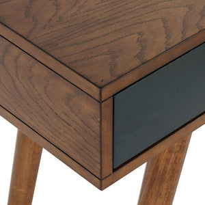 "Pecan & Navy 48"" Contemporary 3-Drawer Writing Desk"