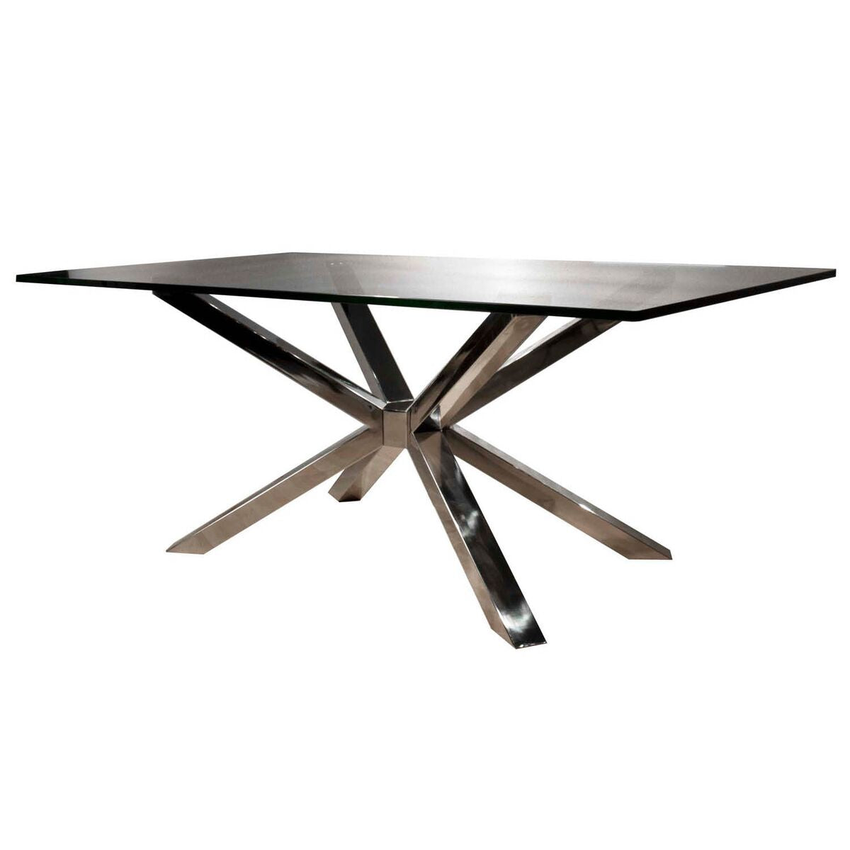 "Eye-Catching 75"" Crackled Glass Executive Desk With Stainless Steel Base"
