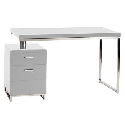 Modern White Lacquer & Chrome Office Desk with Attached Drawers