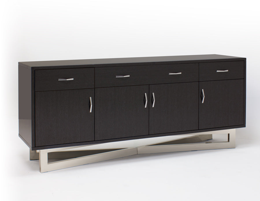 "Ultra Modern 80"" Credenza in High Gloss Gray Oak Finish"