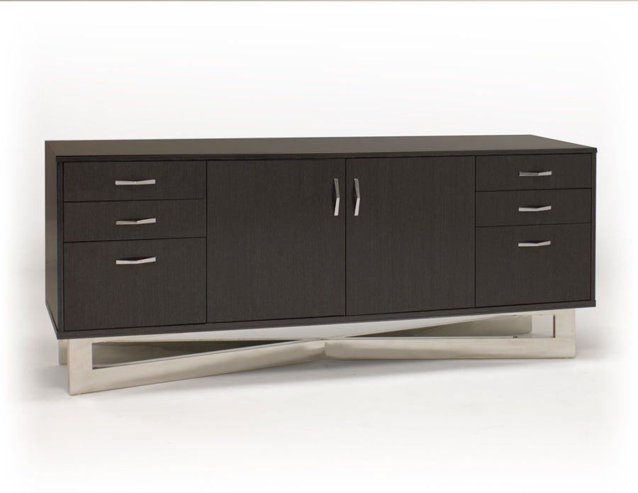 "Modern 75"" Glossy Gray Oak Credenza with Stainless Steel Base"