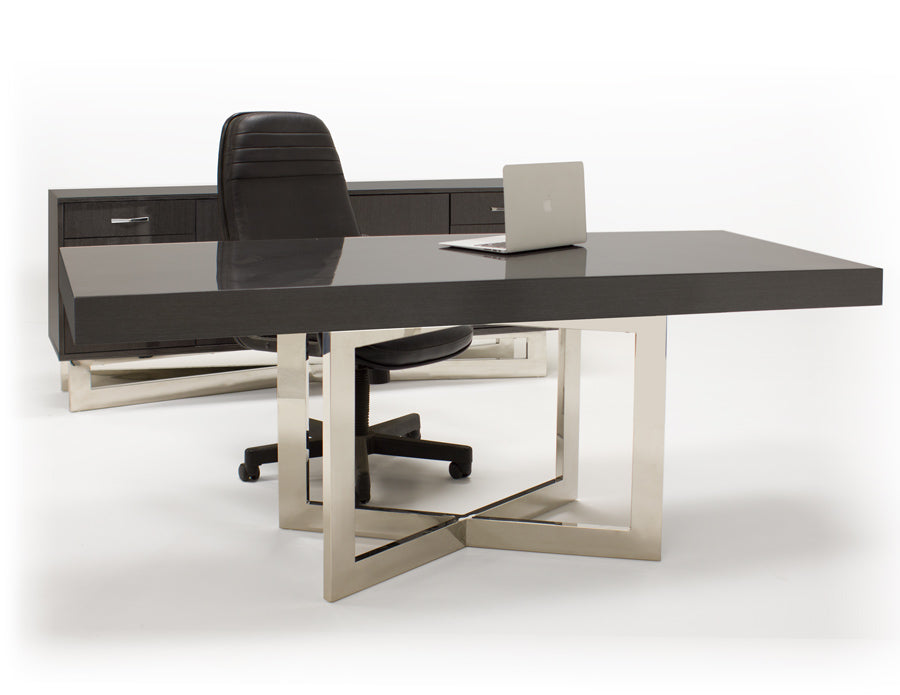 "Modern 75"" Gray Oak Executive Office Desk with Stainless Steel Base"