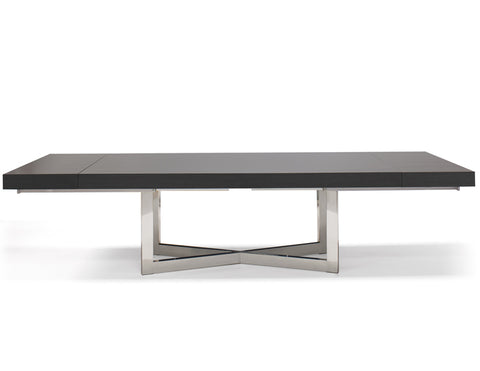 "84"" - 123"" Modern Conference Table with High Gloss Gray Oak Top"