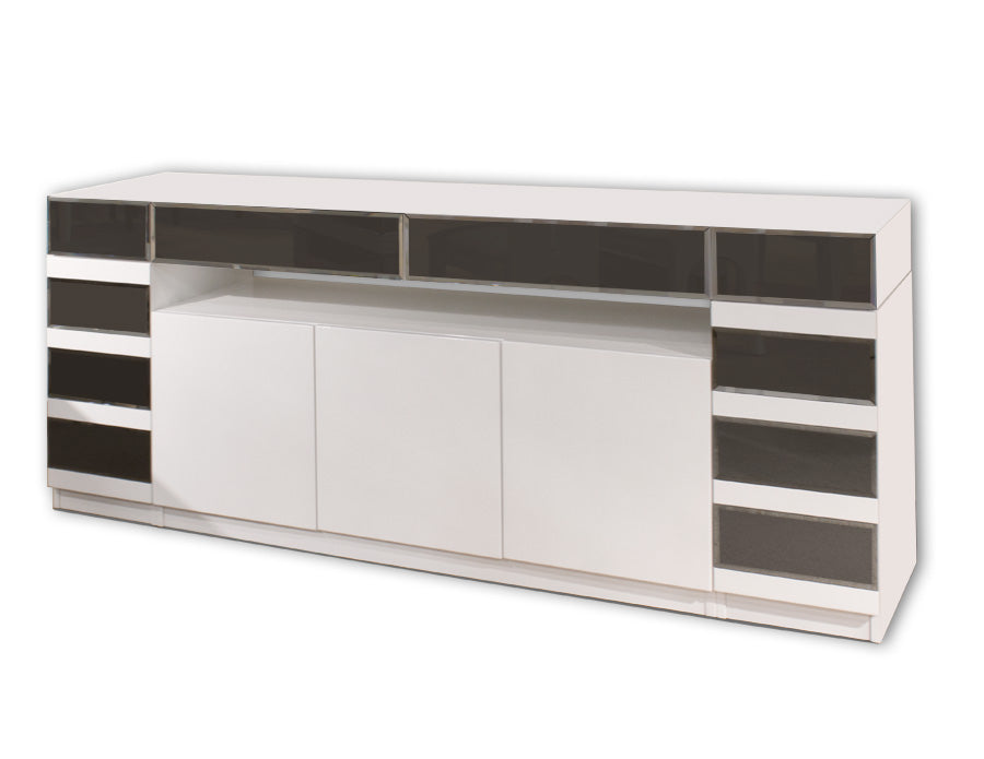 Modern White Lacquer & Gray Beveled Mirror 79