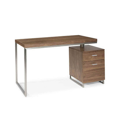 Modern Walnut & Brushed Stainless Office Desk with Attached Drawers