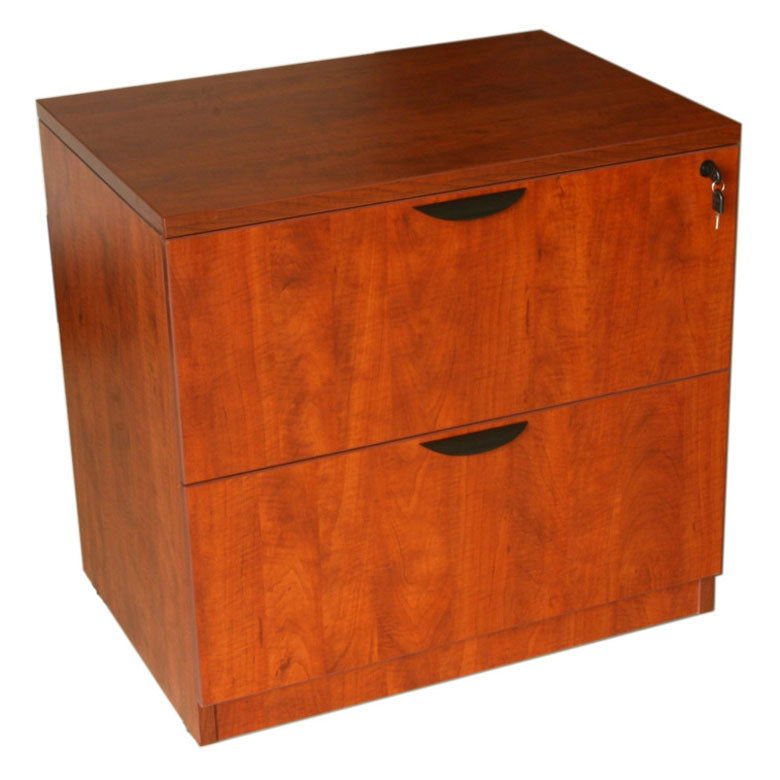 Cherry Locking Two-Drawer Lateral Filing Cabinet