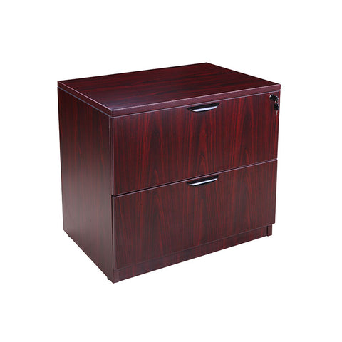 Mahogany Locking Two-Drawer Lateral Filing Cabinet