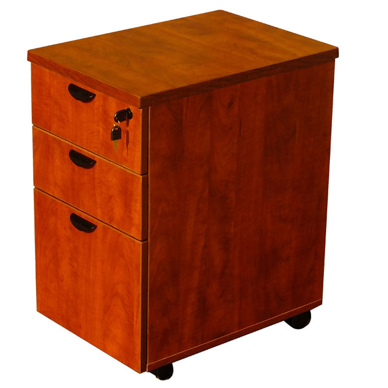 Mobile Cherry File Cabinet w/ 3-Drawers