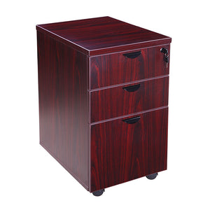 Mobile Mahogany File Cabinet w/ 3-Drawers