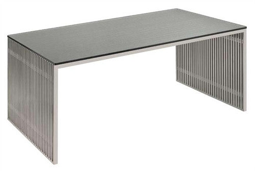 "Modern 48"" Brushed Stainless Steel Executive Desk with Glass Top"