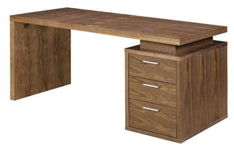 "Modern 63"" Executive Desk with Drawers in Walnut"