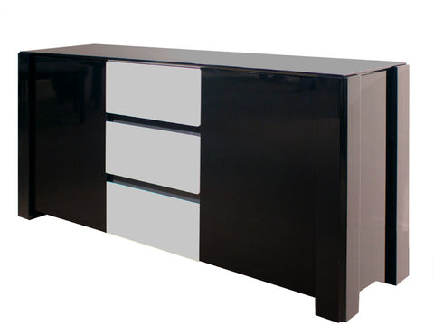 "Elegant 66"" Black & Gray Lacquer Credenza with Three Drawers"