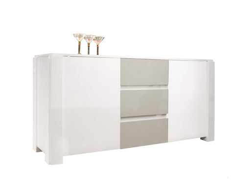 "Elegant 66"" White & Gray Lacquer Credenza with Three Drawers"