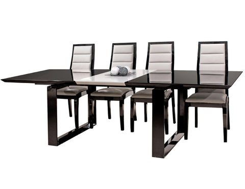 Modern Black Lacquer Conference Table with Gray Lacquer Central Extension