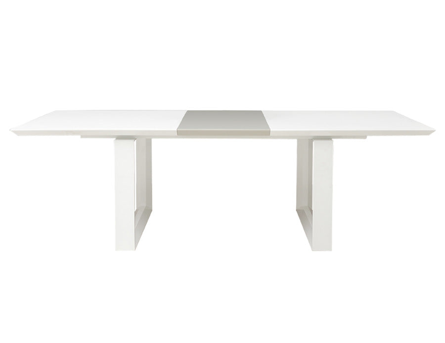 Modern White Lacquer Conference Table with Gray Lacquer Central Extension