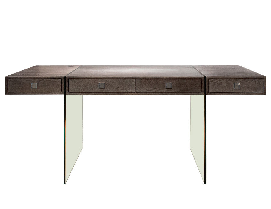 "Modern 69"" Executive Desk with Walnut 4 Drawer Top & Premium Glass Legs"