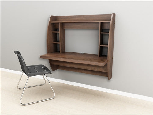 Modern Innovative Floating Wall Mounted Desk in Espresso