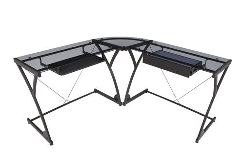 Smoky Glass L-shaped Desk with Storage