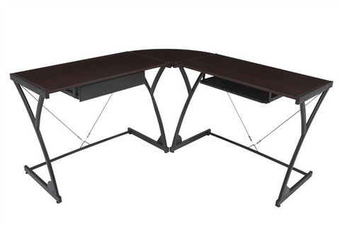 Mocha Walnut L-shaped Desk with Solid Wood Work Surface and Storage
