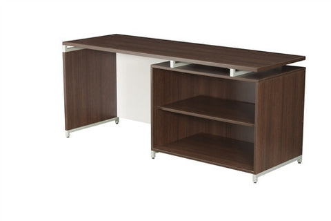 "OneDesk Modern 71"" Office Desk with Open Shelving"