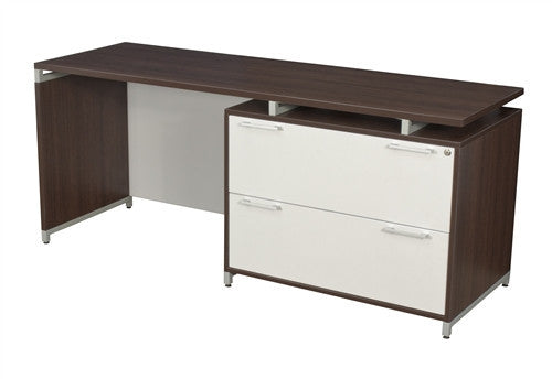 "OneDesk Modern 71"" Office Desk with Integrated Lateral File"