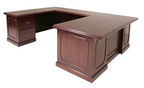 Premium U-shaped Mahogany Veneer Office Desk with Intricate Details