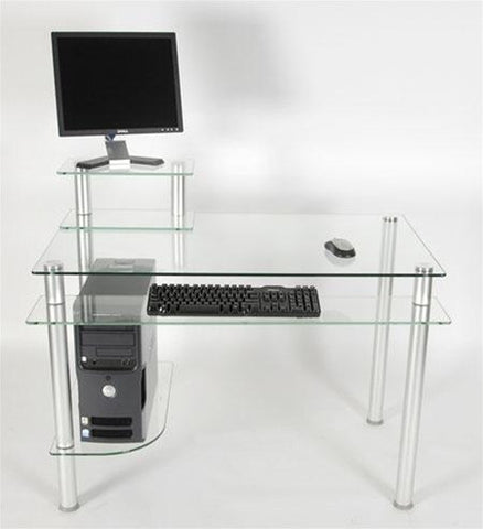 "43"" Modern Clear Glass Computer Desk with Keyboard Shelf"