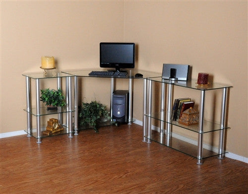 L-shaped Corner Glass Desk with Shelved Extensions