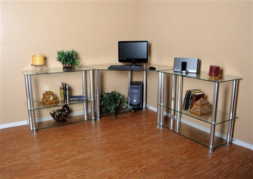 Modern L-shaped Clear Glass Office Desk with Shelved Extensions