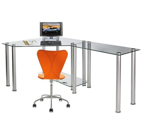 Modern L-Shaped Clear Glass Office Desk with Storage Shelf