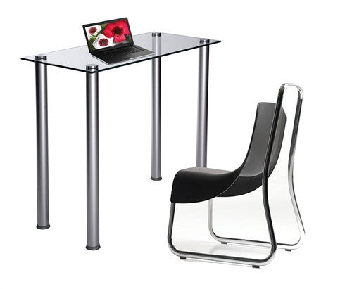 Sleek Clear Glass Computer Desk or Laptop Table