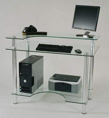 "Modern 43"" Clear Glass Desk with Contoured Shelf"