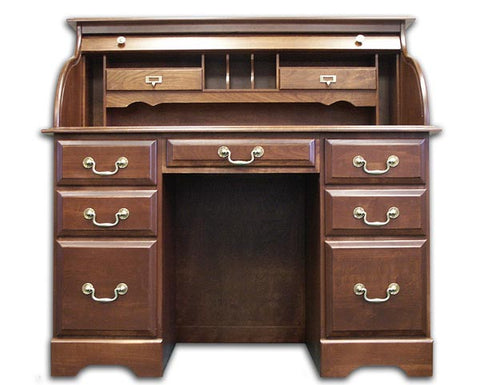 "48"" Solid Cherry Double Pedestal Rolltop Desk with Finish Options"