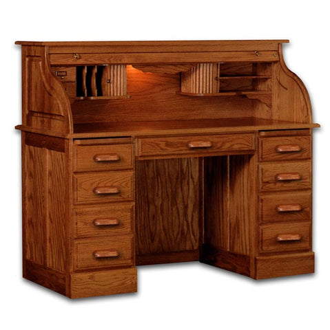 "54"" Solid Oak Double Pedestal Rolltop Desk with Finish Options"
