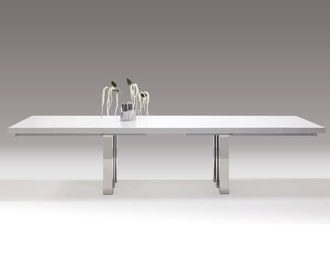 "94"" - 134"" Modern White Lacquer & Chrome Conference Table"