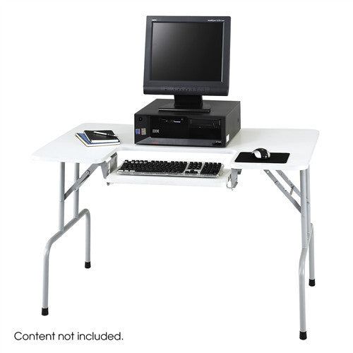 "47"" White & Gray Folding Computer Desk with Adjustable Keyboard Shelf"