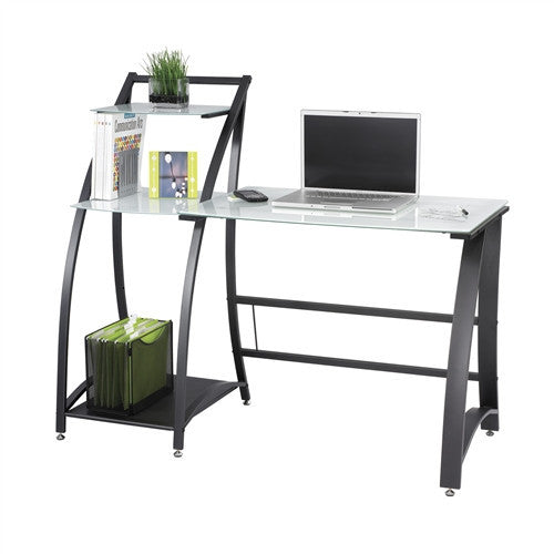 Contemporary White Tempered Glass Desk with Integrated Shelving