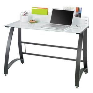 "47"" White Tempered Glass Desk with Storage & Dry-Erase Top"