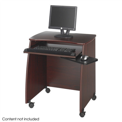 Compact Workstation with Optional Printer Stand in Mahogany Finish