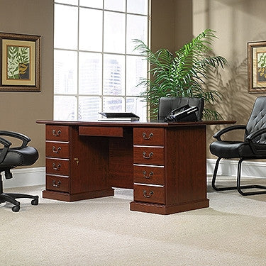 "70"" Modern Classic Cherry Double Pedestal Executive Desk with Huge Desk Top"