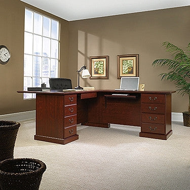 Modern Double Pedestal L-shaped Desk in Classic Cherry Finish