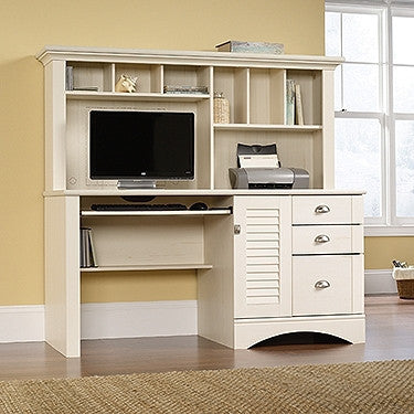 "Modern 62"" Computer Desk with Hutch in Antique White"
