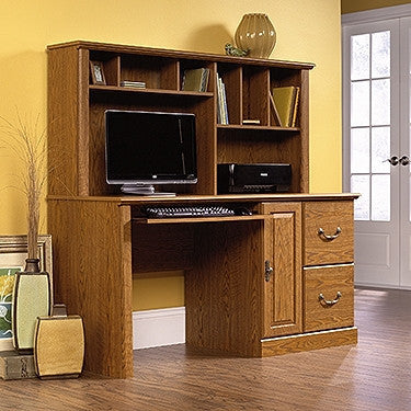 "Contemporary 58"" Computer Desk with Hutch in Carolina Oak"