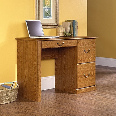 Compact Carolina Oak Computer Desk with Two File Drawers