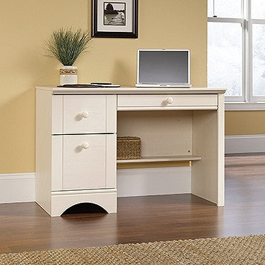 Modern Compact Desk with Optional File & Bookcase in Antique White