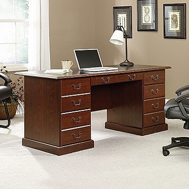 "Modern 65"" Executive Double Pedestal Desk in Classic Cherry Finish"